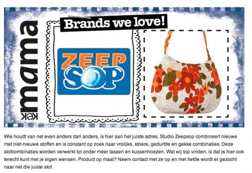Vermelding van Studio Zeepsop op website van tijdschrift Kek mama